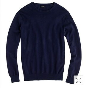 Tall cotton-cashmere Navy crewneck sweater, M